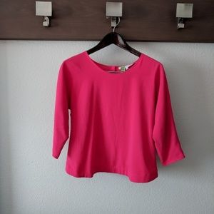 Lovers + Friends Pink Scalloped Button Back Blouse
